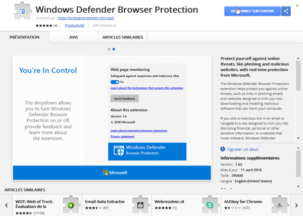 Une extension sous Chrome — Windows Defender