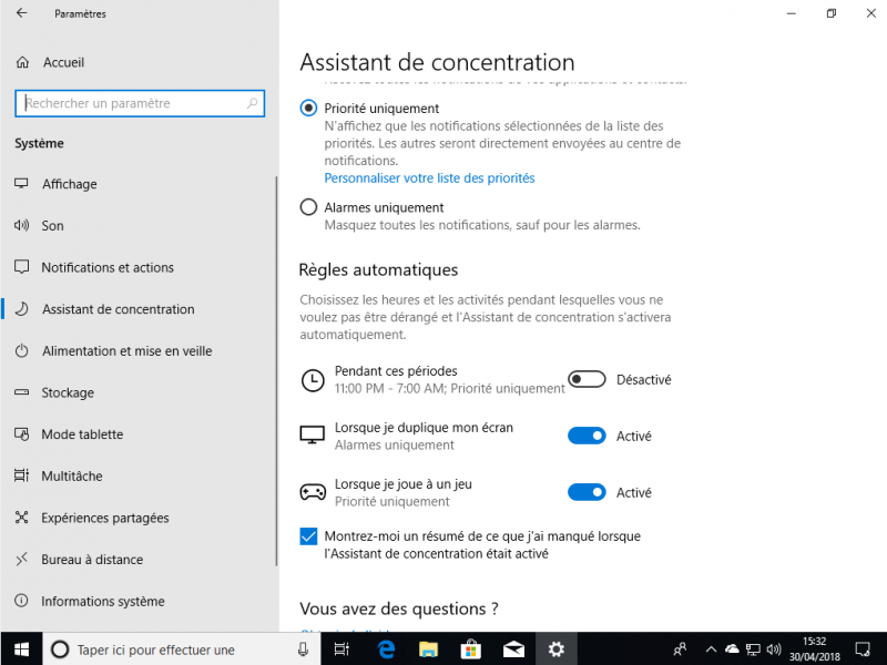 Assistant de concentration Win 10