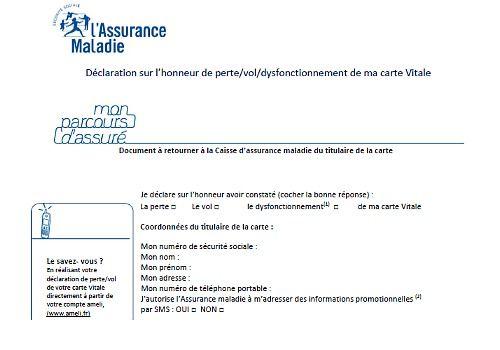 déclaration de perte carte vitale Administrative procedures: The most requested forms   Logitheque