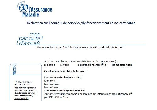 formulaire perte carte vitale Administrative procedures: The most requested forms   Logitheque