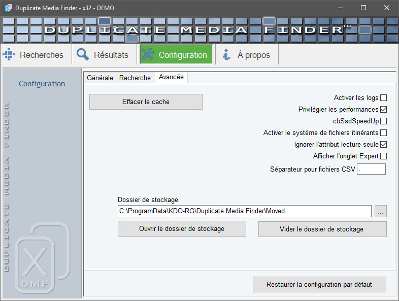 Options avancées Duplicate Media Finder
