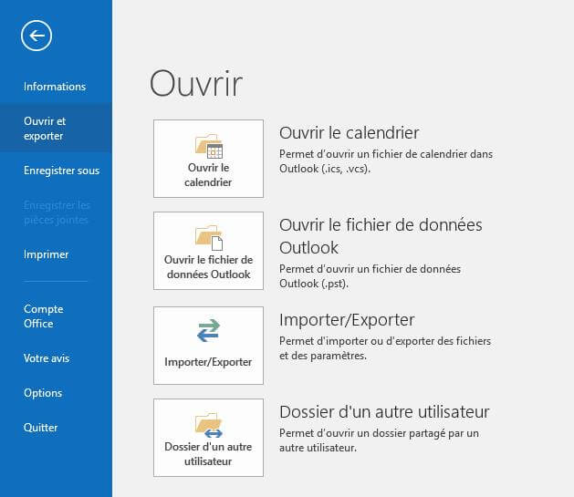 Importer un calendrier ICS sur Outlook 2016