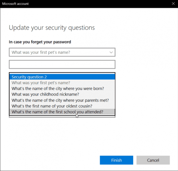 Questions de sécurité Windows 10