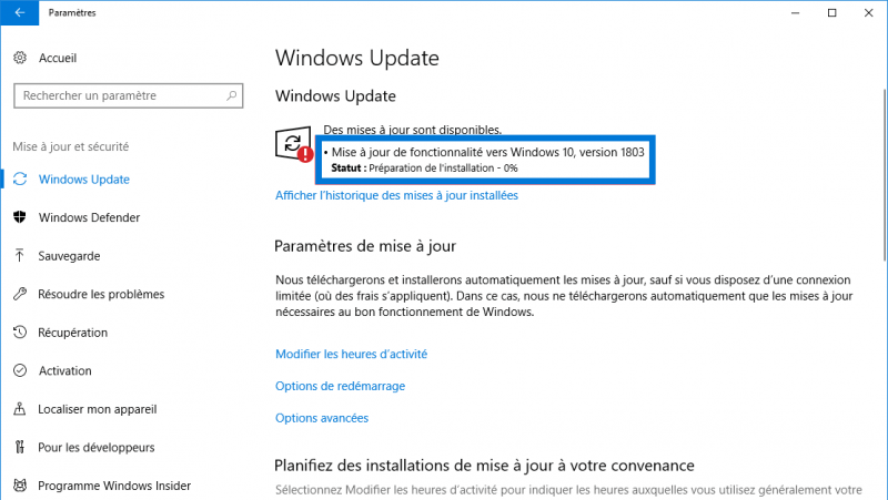 Windows 10 1803 via windows update