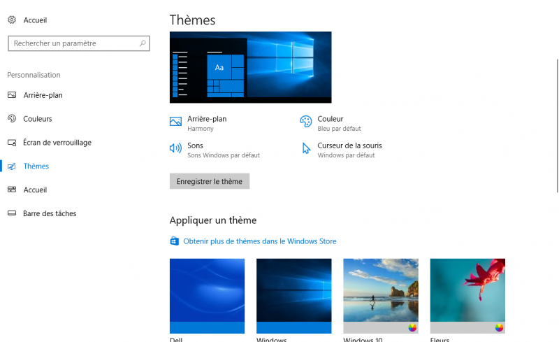 Windows 10 thèmes
