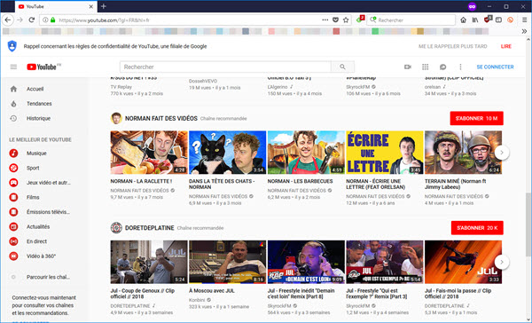 YouTube sur Firefox