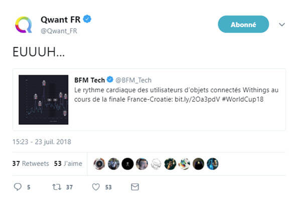 Tweet de Qwant à propos de l'étude de Withings