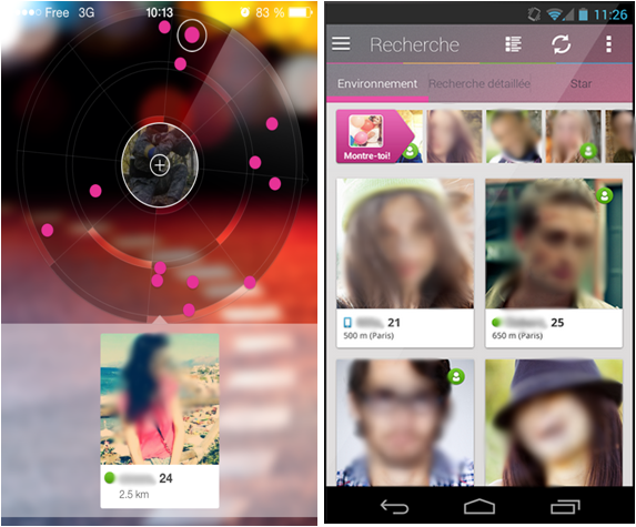 interface mobile Lovoo