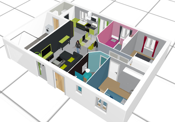 Maison interieur dessin 3d for Maison 3 d