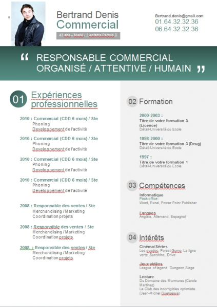 exemple cv original commercial