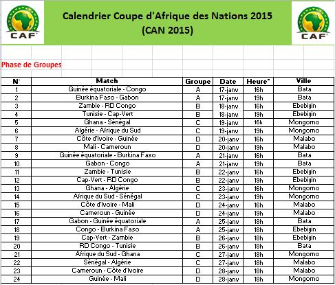 Calendrier can 2015 guinee equatoriale search results calendar 2015 - Qualification coupe d afrique 2015 ...