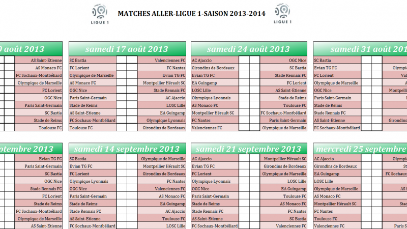 Calendrier rencontre football