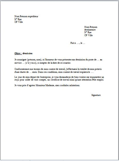 Exemple d 39 une lettre de demission simple - Refus location appartement ...
