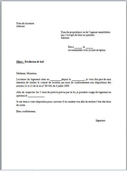 Lettre De R Ef Bf Bdsiliation Location Appartement