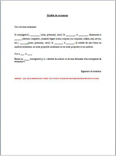 modele de lettre pour un testament Gagnez du temps dans vos démarches administratives avec ces 14  modele de lettre pour un testament