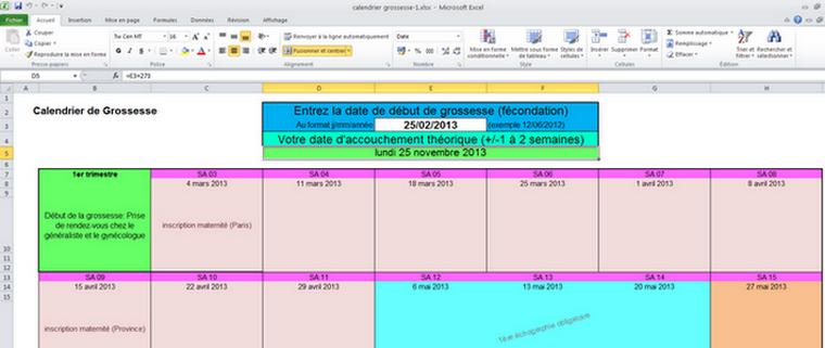 Calendrier Gestationnel.Telecharger Calendrier De Grossesse Excel 1 0 Pour Windows