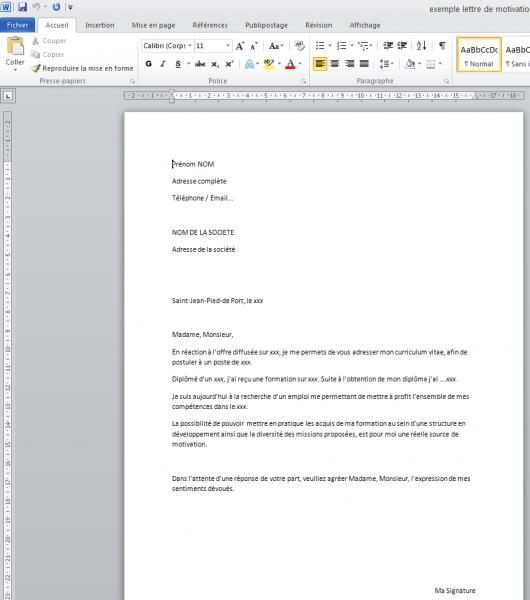 lettre de motivation en francais gratuite pdf