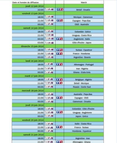 Calendrier coupe du monde 2014 excel takvim kalender hd - Rugby diffusion coupe du monde ...