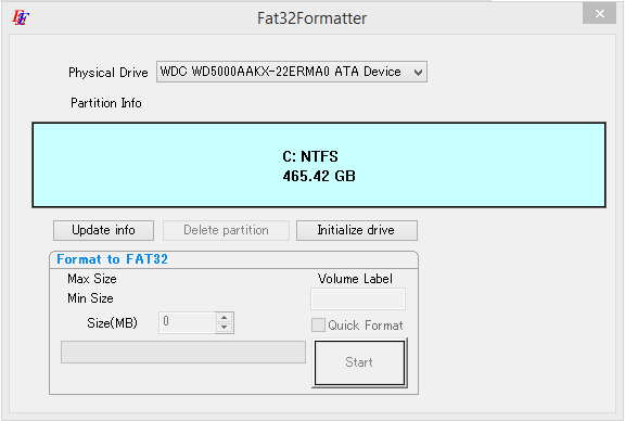 FAT 32 Formatter screenshot
