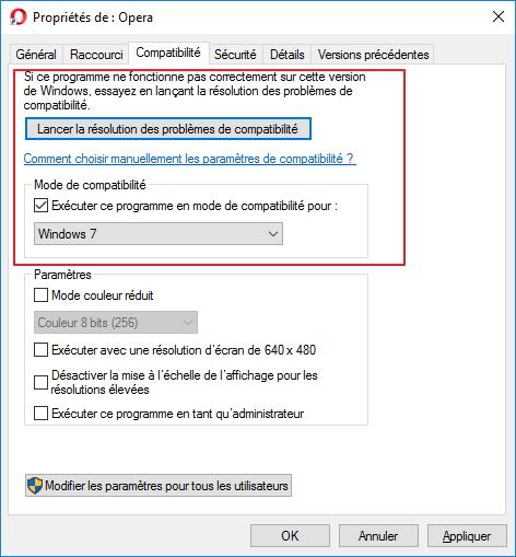 Opera compatibilité