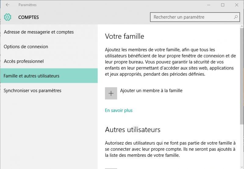 connexion utilisateur windows 10