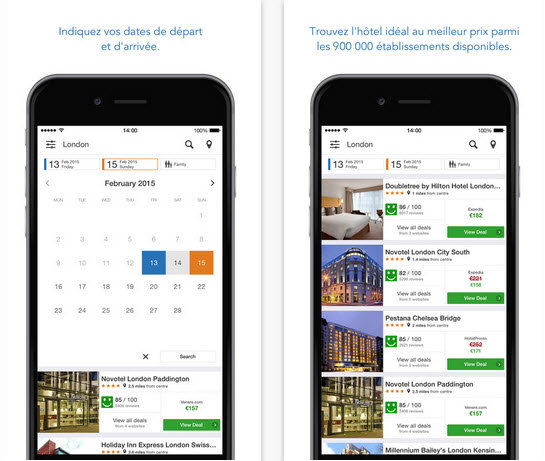 Vol h tel location les meilleures applications de for Trivago comparateur hotel