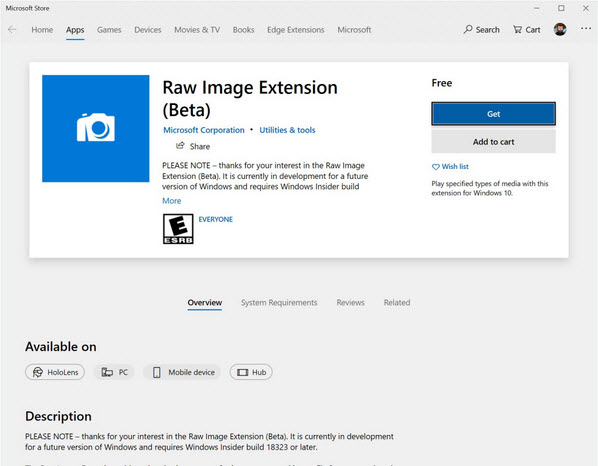 The new Windows 10 preview will be able to manage RAW more easily