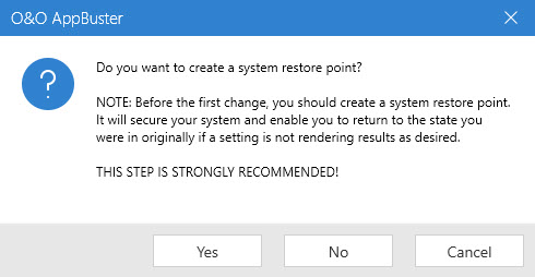 Create a system retore point AppBuster