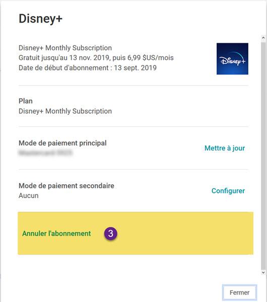 Désabonnement Disney+