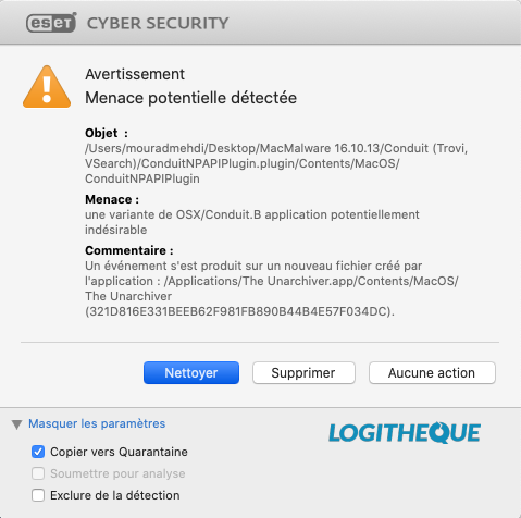 Cyber Security ESET Menace potentielle