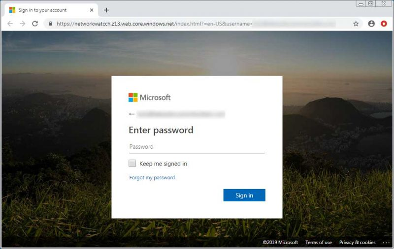 page de phishing Office 365