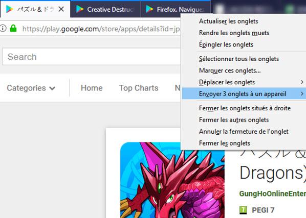 Sélection multiple des onglets Firefox 64