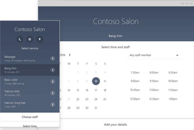Salon microsoft bookings