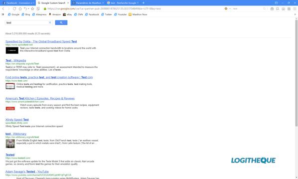Interface Maxthon recherche