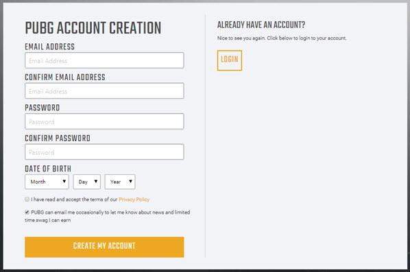 PUBG Lite account creation