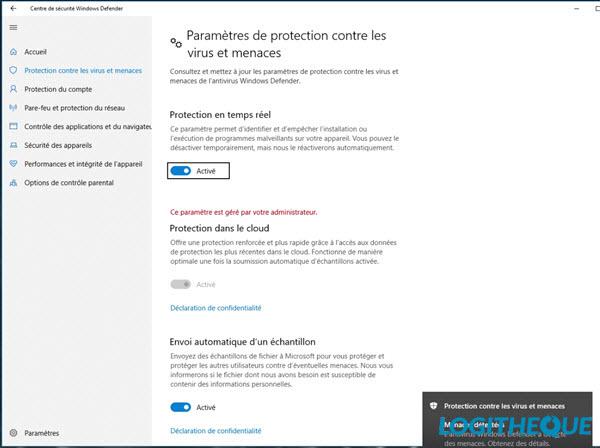 Free antivirus test: Windows Defender