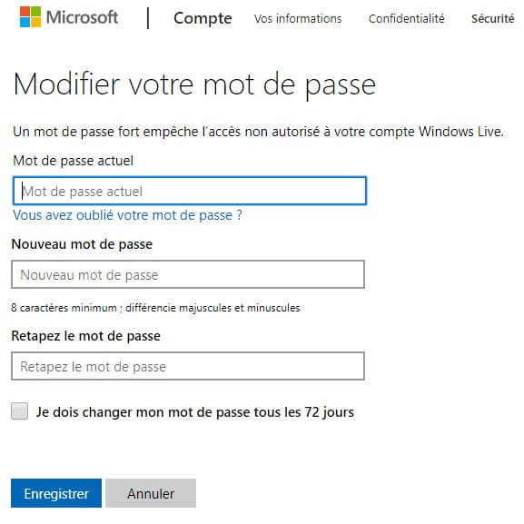 Modifier mot de passe Windows 10
