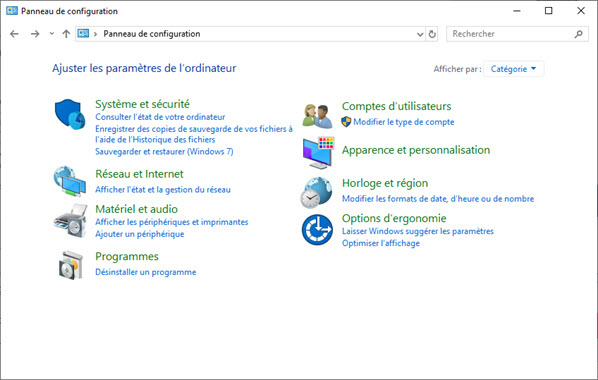 Panneau configuration windows