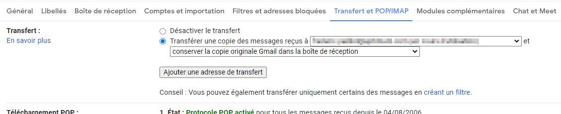 transfert gmail