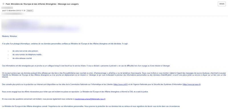 ariane mail piratage