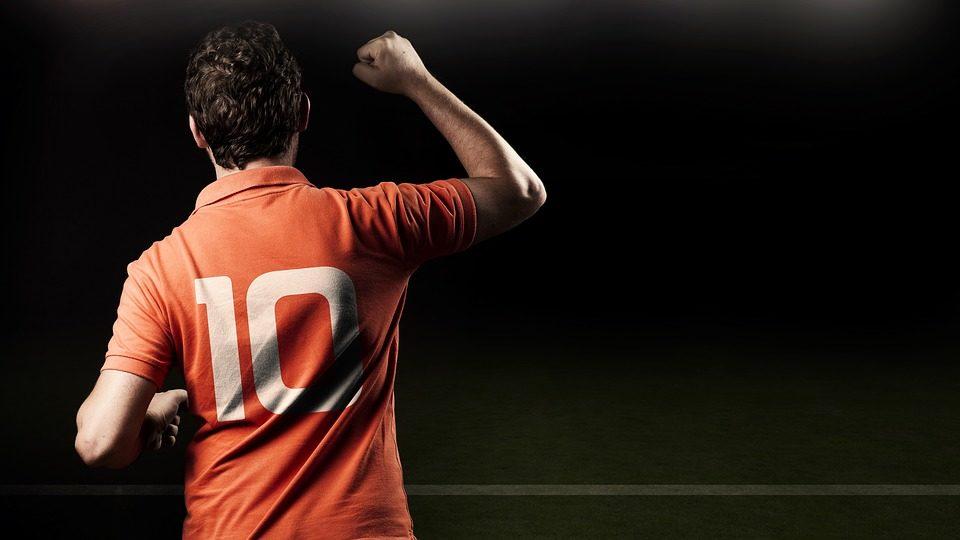 joueur de foot vue de dos