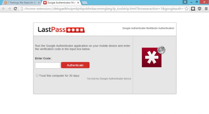 LastPass Double Authentification