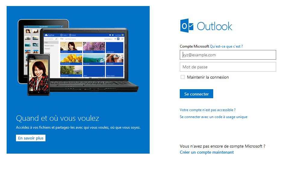 Outlook.com connexion
