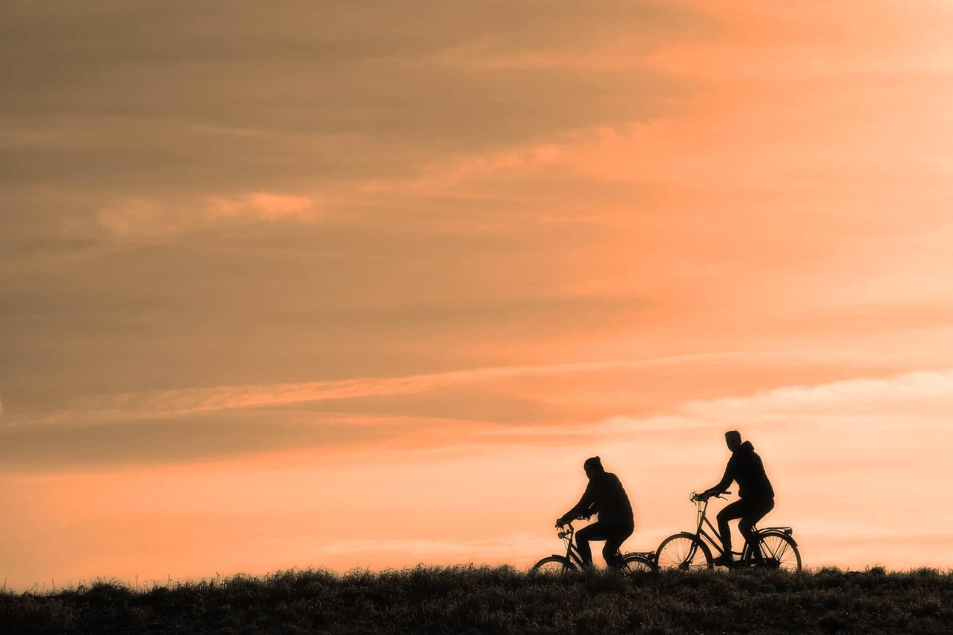 vélo sunset coucher soleil