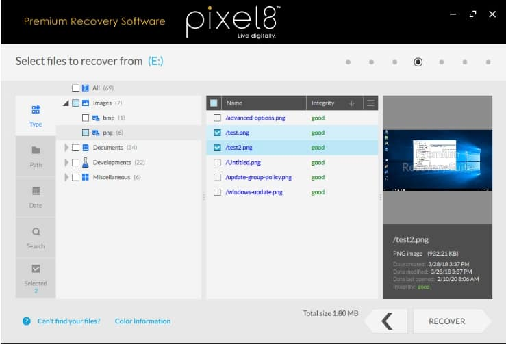 Interface de Pixel8 Premium recovery software