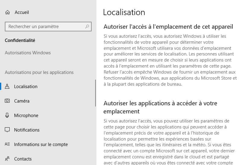 Autorisations applications Windows 10