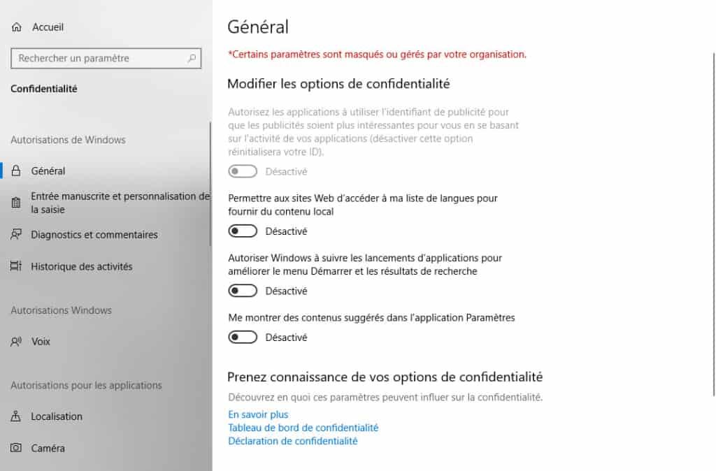 options de confidentialité Windows 10