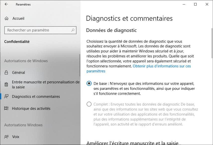 Diagnostic et commentaires Windows 10