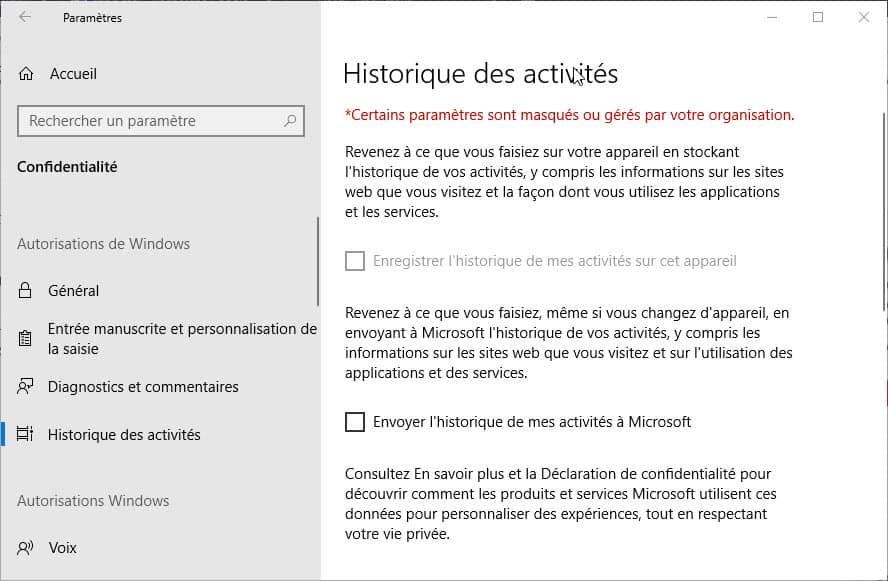 Désactiver historique des activités Windows 10