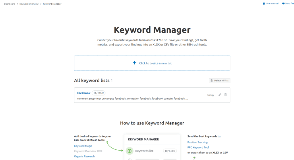 keyword manager semrush